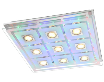 Action Zoe 9 Light LED Remote Control/Switched Square RGB Ceiling Light, Chrome - 940610010000