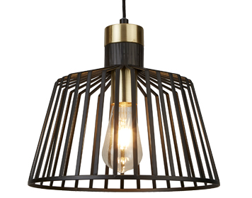 Searchlight Bird Cage 1 Light Pendant Ceiling Light, Black & Satin Brass Finish Cage - 9411BK