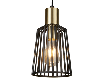 Searchlight Bird Cage 1 Light Pendant Ceiling Light, Black & Satin Brass Finish Cage - 9412BK