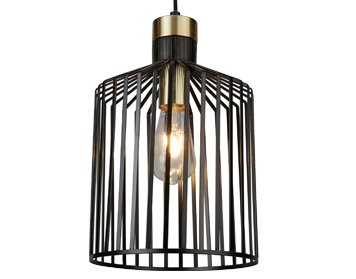 Searchlight Bird Cage 1 Light Pendant Ceiling Light, Black & Satin Brass Finish Cage - 9413BK