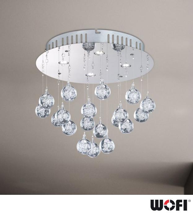glam lighting. Wofi Glam LED 4 Light Ceiling Light, Chrome Finish - 9445.04.01.0000 Glam Lighting J
