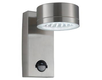 Searchlight 1 Light Outdoor PIR LED Wall Light, Stainless Steel Finish - 9550SS