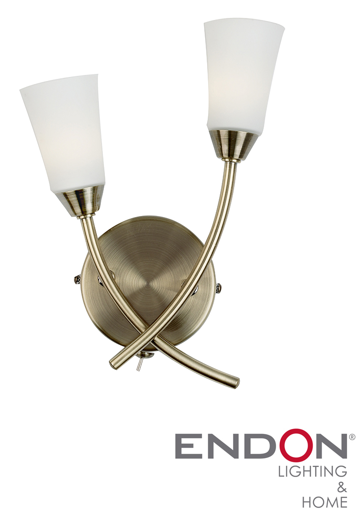 Endon Tiffany Wall Lights : Endon Calypso Twin Wall Light, Antique Brass - 96002-AB from Easy Lighting