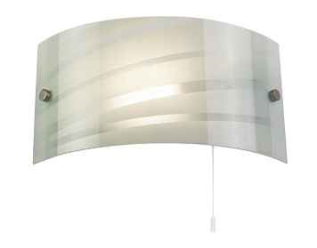 Endon Salsa 1 Light Switched Wall Light, Satin Chrome Finish With Gloss White Patterned Glass - 96220-WBWH
