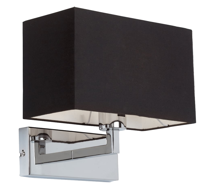 Endon piccolo 1 light switched wall light chrome plate finish with endon piccolo 1 light switched wall light chrome plate finish with black cotton mix shade 96750 ch aloadofball Gallery