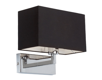 Endon Piccolo 1 Light Switched Wall Light, Chrome Plate Finish With Black Cotton Mix Shade - 96750-CH