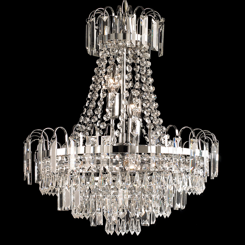 Endon u0027Amadisu0027 6 Light Chandelier With Glass Drops Chrome Finish - 96826- & 6 And 7 Arm Chandeliers from Easy Lighting azcodes.com