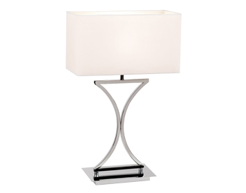 Endon Epalle Table Lamp, Chrome Plate Finish With White Cotton Mix Shade - 96930-TLCH