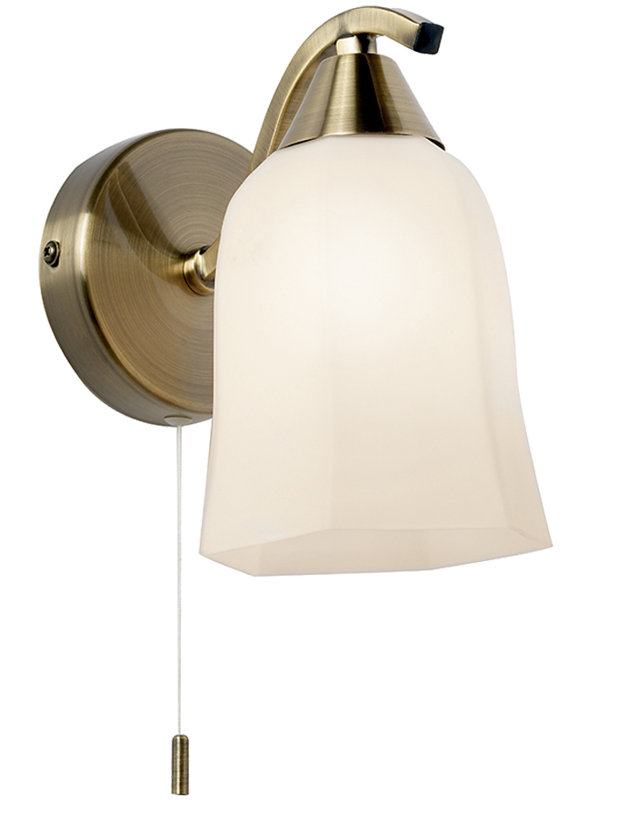Endon Alonso Switched Wall Bracket With Hexagonal Opal Glass Shade, Antique Brass - 96971-WBAB ...