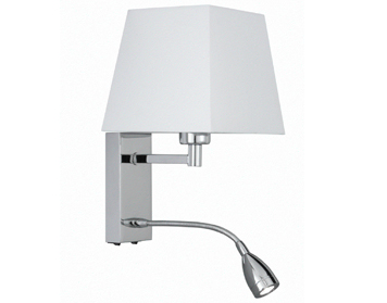 Searchlight 1 Light Switched Wall Light With Integrated LED Reading Lamp, Chrome Finish White Fabric Shade - 9719CC