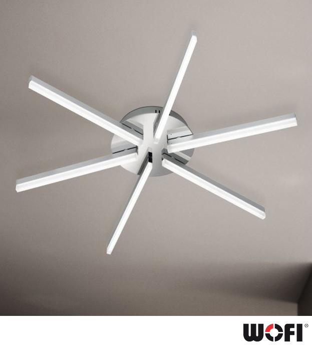 Hortons Lighting Outlet: Wofi 'Horton' LED 6 Light Ceiling Light, Matt Nickel