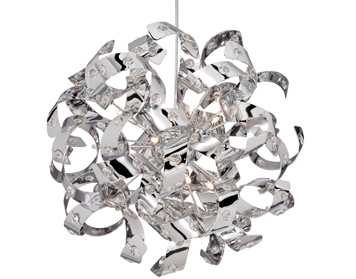 Searchlight Curls 6 Light Crystal Ceiling Pendant, Polished Chrome Finish - 5816-6CC
