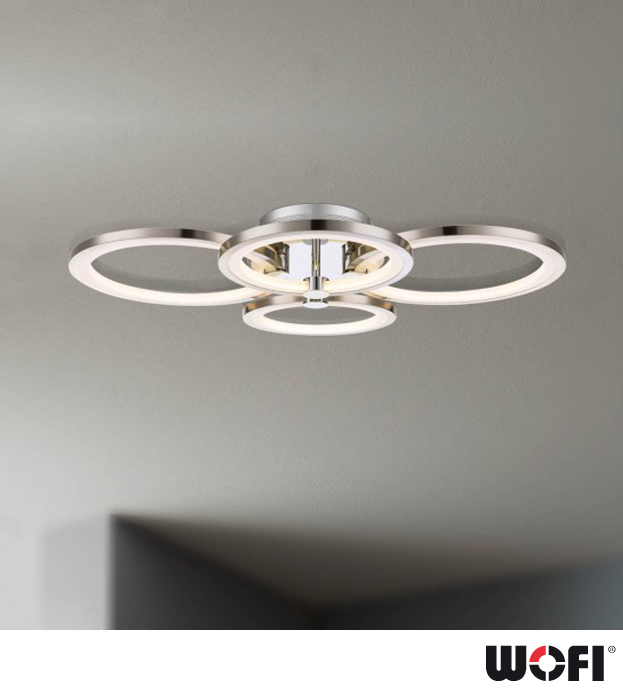wofi surrey 4 light led flush ceiling light matt nickel chrome