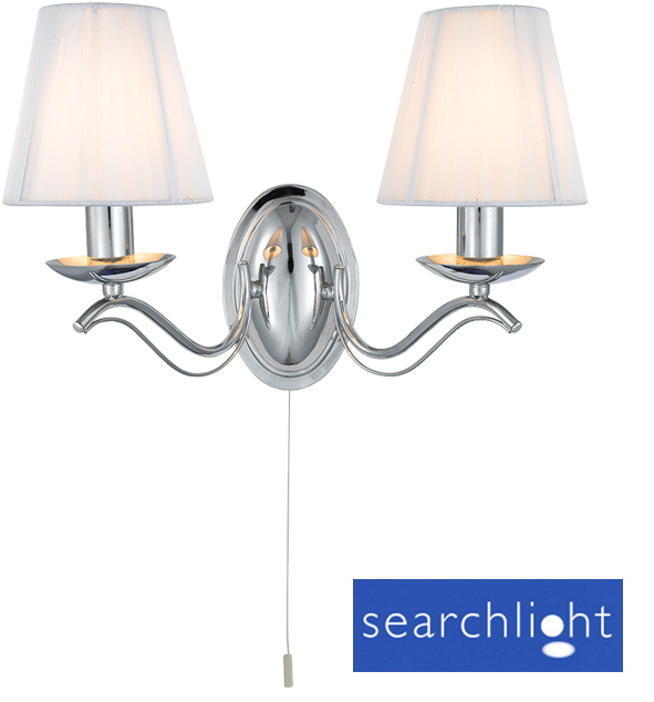 Searchlight Andretti Twin Wall Light, Polished Chrome - 9822-2CC from Easy Lighting
