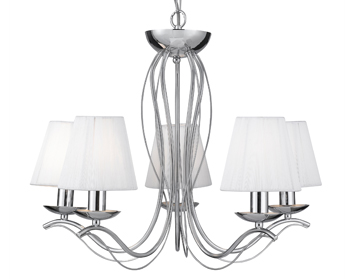 Searchlight Andretti 5 Light Pendant Ceiling Light, Polished Chrome Finish With Cream Faux Silk Shades - 9825-5CC