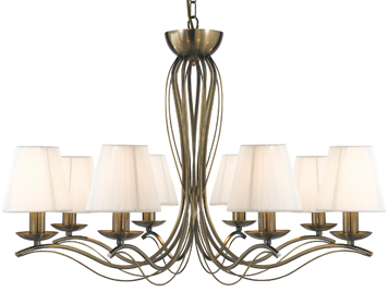 Searchlight Andretti 8 Light Pendant Ceiling Light, Antique Brass Finish With Cream Faux Silk Shades - 9828-8AB