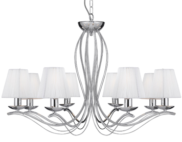 Searchlight Andretti 8 Light Pendant Ceiling Light, Polished Chrome Finish With Cream Faux Silk Shades - 9828-8CC