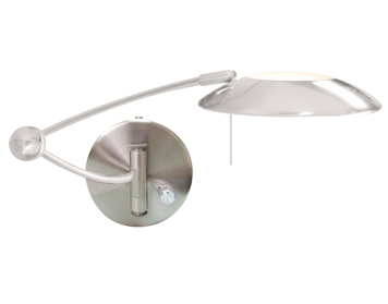 Searchlight 1 Light Swing Arm Wall Light, Satin Silver Finish With Glass Diffuser - 9850SS