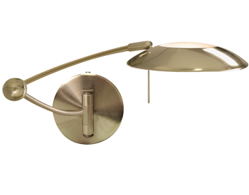 Searchlight LED Adjustable Swing Arm Wall Light, Antique Brass Finish - 9851AB