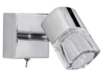 Searchlight Blocs LED 1 Light Spotlight, Chrome & Clear Glass - 9881CC-LED