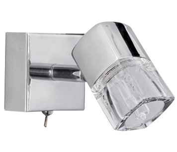 Searchlight Bloc Single Spotlight, Polished Chrome - 9881CC