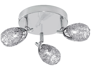 Searchlight Mesh 3 Light Plate Spotlight, Polished Chrome Finish With Wire Mesh Crystal Shades - 9993CC