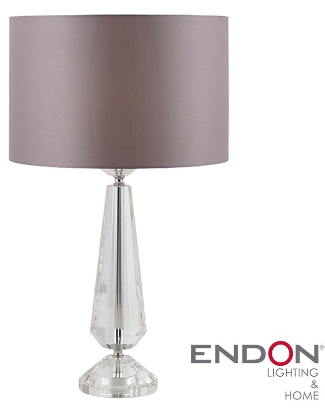 Endon u0026#39;Adelphiu0026#39; Switched Table Lamp, Clear Crystal u0026 Taupe Faux Silk - ADELPHI-TLCRY from Easy ...