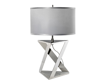 Elstead Aegeus 1 Light Table Lamp, Polished Nickel & White Marble Finish With Silver/Grey Shade - AEGEUS/TL