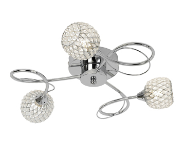 Endon Aherne 3 Light Flush Ceiling Light, Chrome Plate Finish With Clear Glass & Chrome Wire - AHERNE-3CH