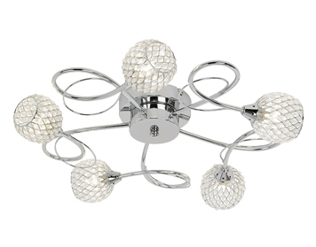 Endon Aherne 5 Light Flush Ceiling Light, Chrome Plate Finish With Clear Glass & Chrome Wire - AHERNE-5CH