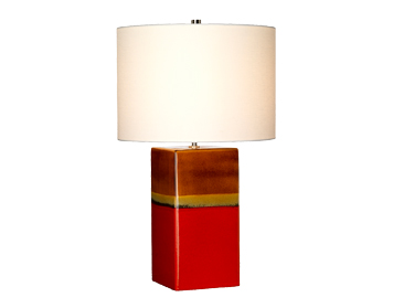 Elstead Alba 1 Light Table Lamp, Amber, Red & Grey Finish With Cream Shade - ALBA/TL ROUGE