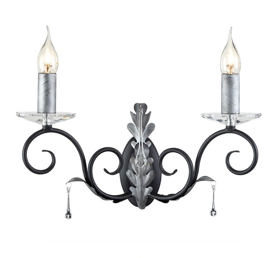 Silver Crystal Wall Lights : Elstead Amarilli IP44 Black & Silver Bathroom Wall Light - BATH/AML2BLK/SL from Easy Lighting