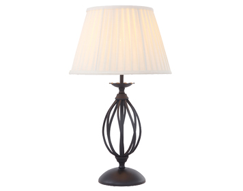 Elstead Artisan Single Light Table Lamp, Black Finish With Ivory Cotton Shade  - ART/TLBLACK