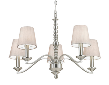 Endon Astaire 5 Light Ceiling Light, Satin Nickel Plate With Natural Cotton Mix Shade - ASTAIRE-5SN