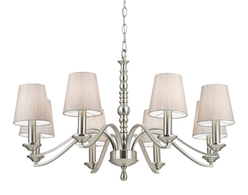 Endon Astaire 8 Light Ceiling Light, Satin Nickel Plate With Natural Cotton Mix Shade - ASTAIRE-8SN