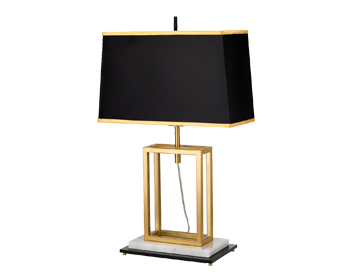 Elstead Atlas 1 Light Table Lamp, Brushed Brass Finish With Black Rectangular Shade - ATLAS/TL