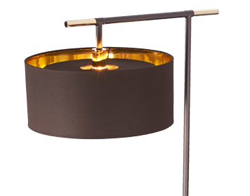 Elstead Balance 1 Light Floor Lamp, Mocha Brown & Polished Brass Finish - BALANCE/FL BRPB