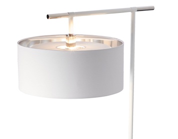 Elstead Balance 1 Light Floor Lamp, White & Polished Nickel Finish - BALANCE/FL WPN