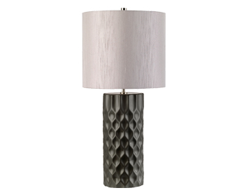 Elstead Barbican 1 Light Table Lamp, Graphite Ceramic Finish With Silver Shade - BARBICAN/TL