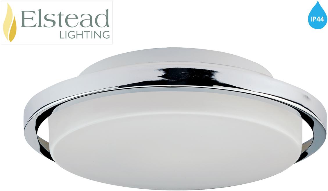 Modern Led Bathroom Ceiling Light Chrome Finish Ip44 Rated: Elstead 'Ryde' IP44 Rated LED Bathroom Flush Ceiling Light