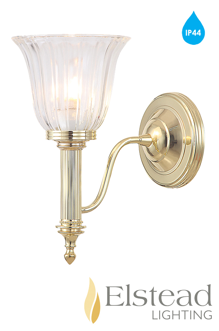 Elstead 39 Carroll 39 Ip44 1 Light Polished Brass Bathroom Wall Light Bath Carroll1pb From Easy