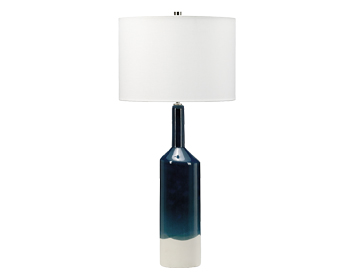 Elstead Bayswater 1 Light Table Lamp, Deep Ocean Blue & White Ceramic Finish With White Shade - BAYSWATER/TL