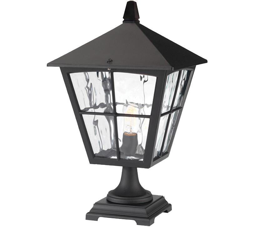 Elstead York Pedestal Lantern Light Black: Elstead Edinburgh Pedestal Lantern, Black