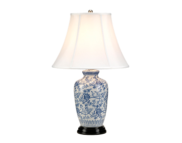 Elstead Blue Ginger Jar 1 Light Table Lamp, Blue & White Finish With White Shade - BLUE G JAR/TL