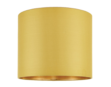 Endon Boutique Cylinder Shade (400mm), Chartreuse Silk & Brushed Gold PVC Finish - 67944