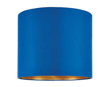 Endon Boutique Cylinder Shade (400mm), Midnight Blue Silk & Brushed Gold PVC Finish  - 67942