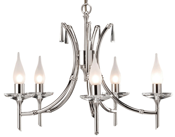 Elstead Brightwell 5 Light Crystal Ceiling Light, Polished Nickel - BR5NICKEL