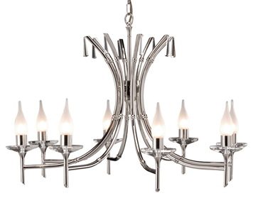 Elstead Brightwell 8 Light Ceiling Light, Polished Nickel - BR8NICKEL