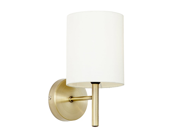 Endon Brio Single Wall Light, Antique Brass Finish With Cream Faux Silk Shades - BRIO-1WBAB