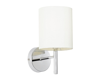 Endon Brio Single Wall Light, Chrome Plate Finish With Off White Faux Silk Shade - BRIO-1WBCH